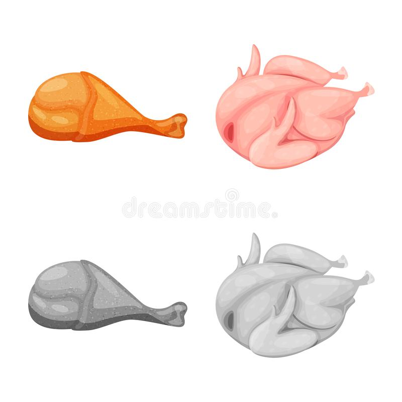 Objeto aislado de la muestra del producto y de las aves de corral Fije de producto y del ejemplo com?n del vector de la agricultu ilustración del vector