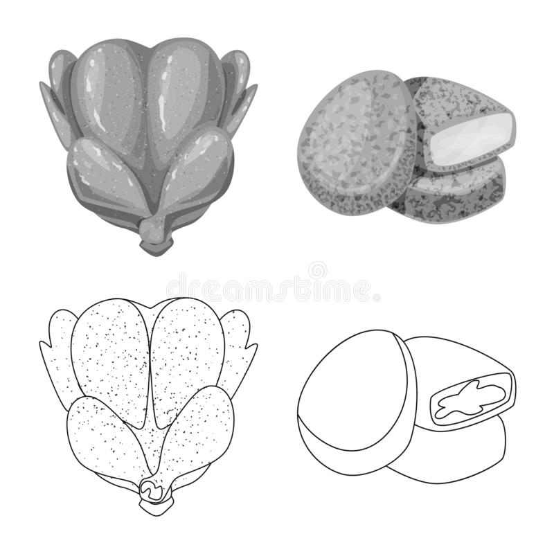 Objeto aislado de la muestra del producto y de las aves de corral Fije de producto y del icono del vector de la agricultura para  stock de ilustración