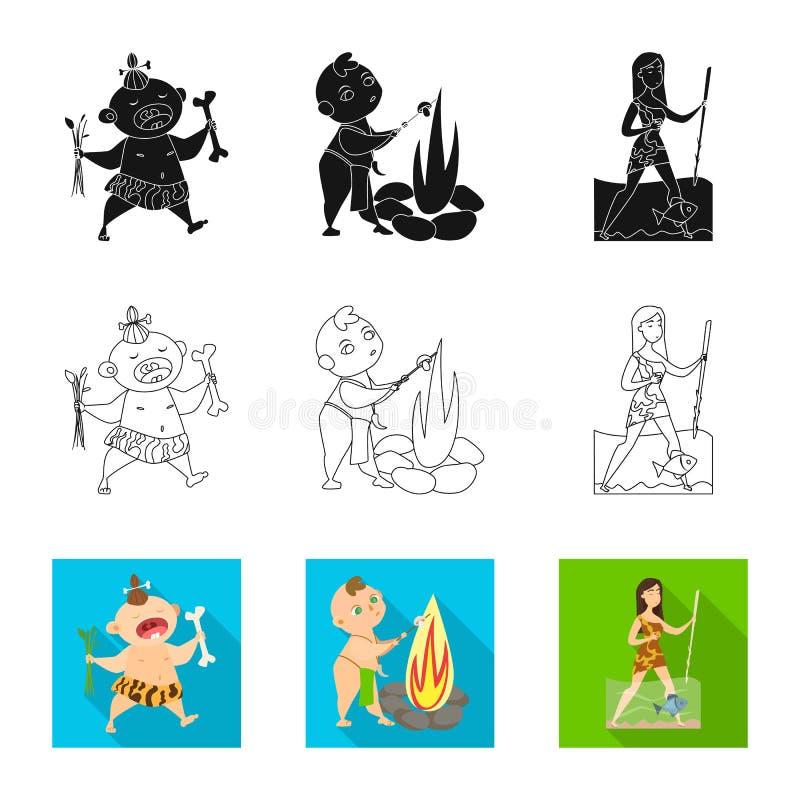 Objeto aislado de la muestra de la evolución y de la prehistoria Colección de icono del vector de la evolución y del desarrollo p ilustración del vector