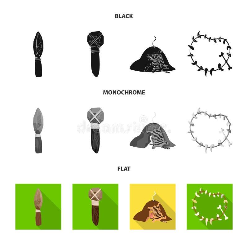 Objeto aislado de la muestra de la evolución y de la prehistoria Colección de símbolo común de la evolución y del desarrollo para stock de ilustración