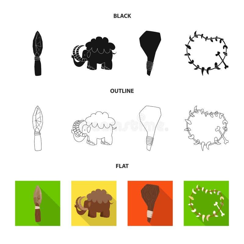 Objeto aislado de la muestra de la evolución y de la prehistoria Colección de símbolo común de la evolución y del desarrollo para ilustración del vector