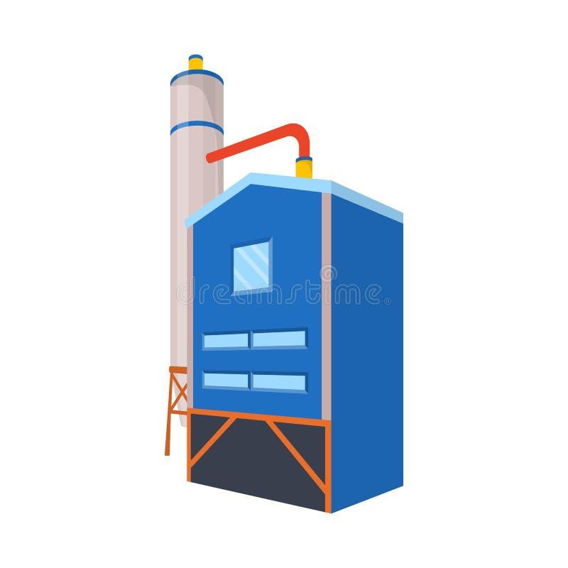 Objeto aislado de la muestra de la manufactura y del combustible Fije del icono del vector de la manufactura y de la refinería pa ilustración del vector