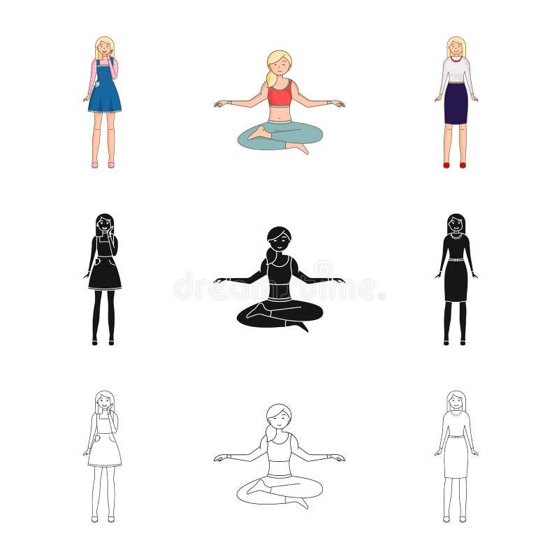 Objeto aislado de la muestra de la postura y del humor Colecci?n de postura e icono femenino del vector para la acci?n stock de ilustración