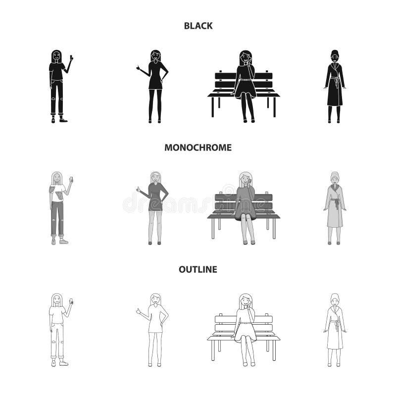 Objeto aislado de la muestra de la postura y del humor Colecci?n de postura y de ejemplo com?n femenino del vector stock de ilustración