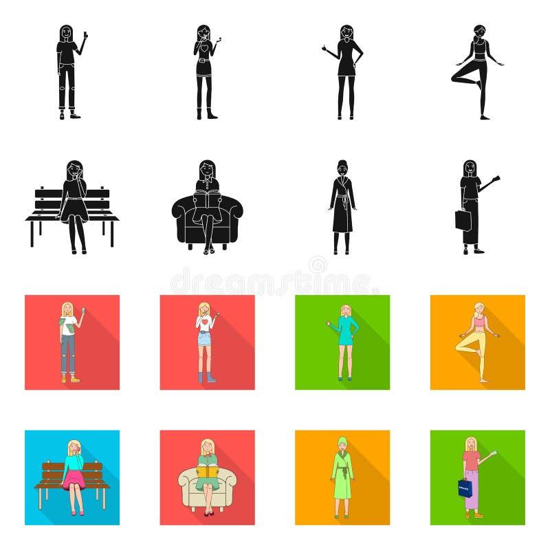 Objeto aislado de la muestra de la postura y del humor Fije de postura y del s?mbolo com?n femenino para la web ilustración del vector