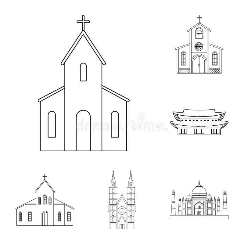 Objeto aislado de la muestra de la religión y de la boda Fije de la religión y del icono del vector de la casa para la acción stock de ilustración