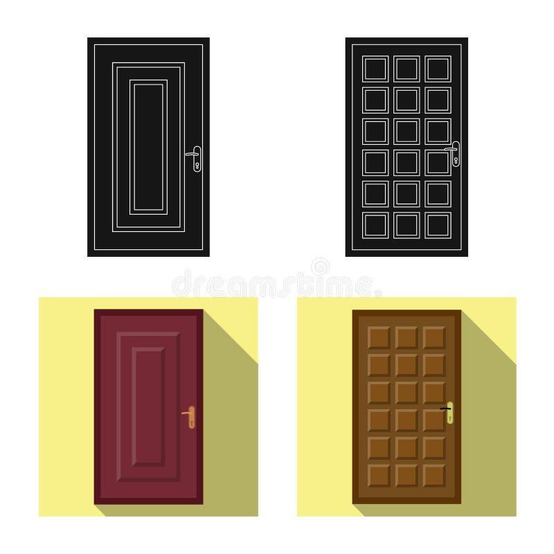 Objeto aislado de la puerta y del icono delantero Sistema de la puerta y del ejemplo com?n de madera del vector stock de ilustración