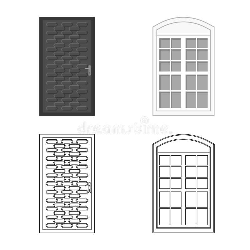 Objeto aislado de la puerta y del logotipo delantero Colección de puerta e icono de madera del vector para la acción stock de ilustración