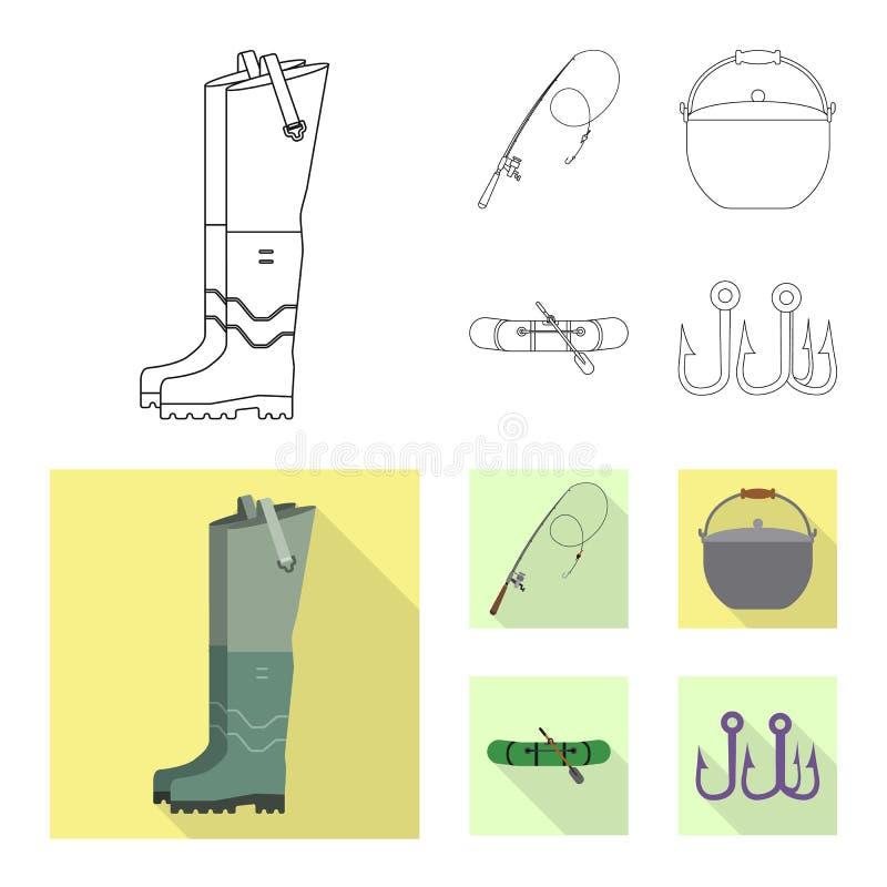 Objeto aislado de pescados y de la muestra de la pesca Sistema del s?mbolo com?n de los pescados y del equipo para el web libre illustration