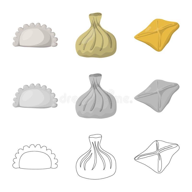Objeto aislado de productos y del icono el cocinar Colecci?n de productos y de s?mbolo com?n del aperitivo para la web ilustración del vector