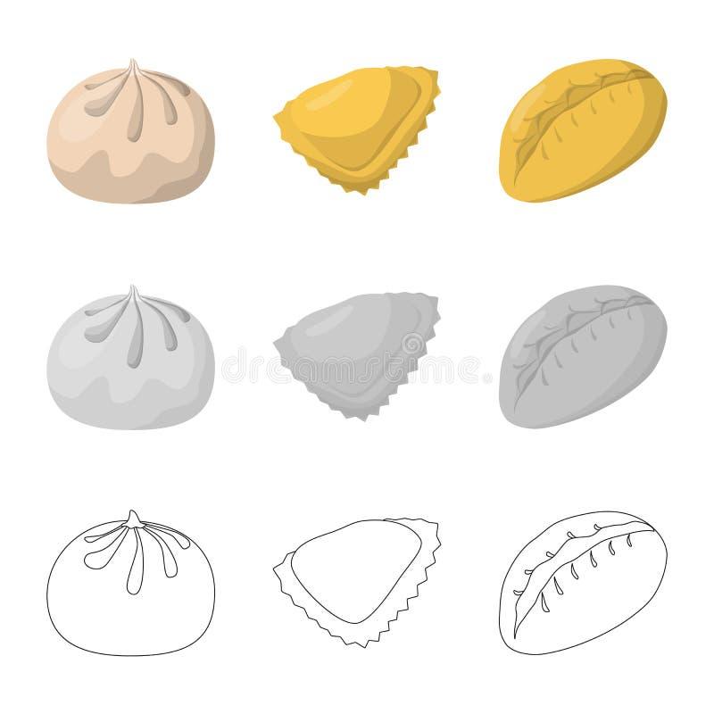 Objeto aislado de productos y del logotipo el cocinar Colecci?n de productos y de s?mbolo com?n del aperitivo para la web libre illustration