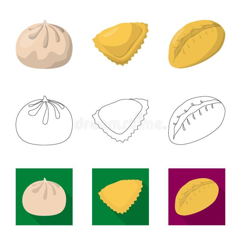 Objeto aislado de productos y del logotipo el cocinar Fije de productos y del s?mbolo com?n del aperitivo para la web libre illustration