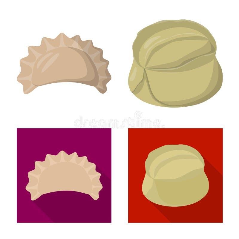 Objeto aislado de productos y del logotipo el cocinar Fije de productos y del s?mbolo com?n del aperitivo para la web stock de ilustración