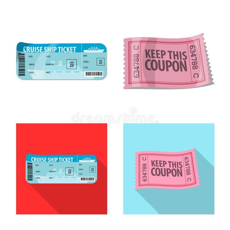 Objeto aislado del boleto y de la muestra de la admisión Colección de boleto y de símbolo común del evento para el web stock de ilustración