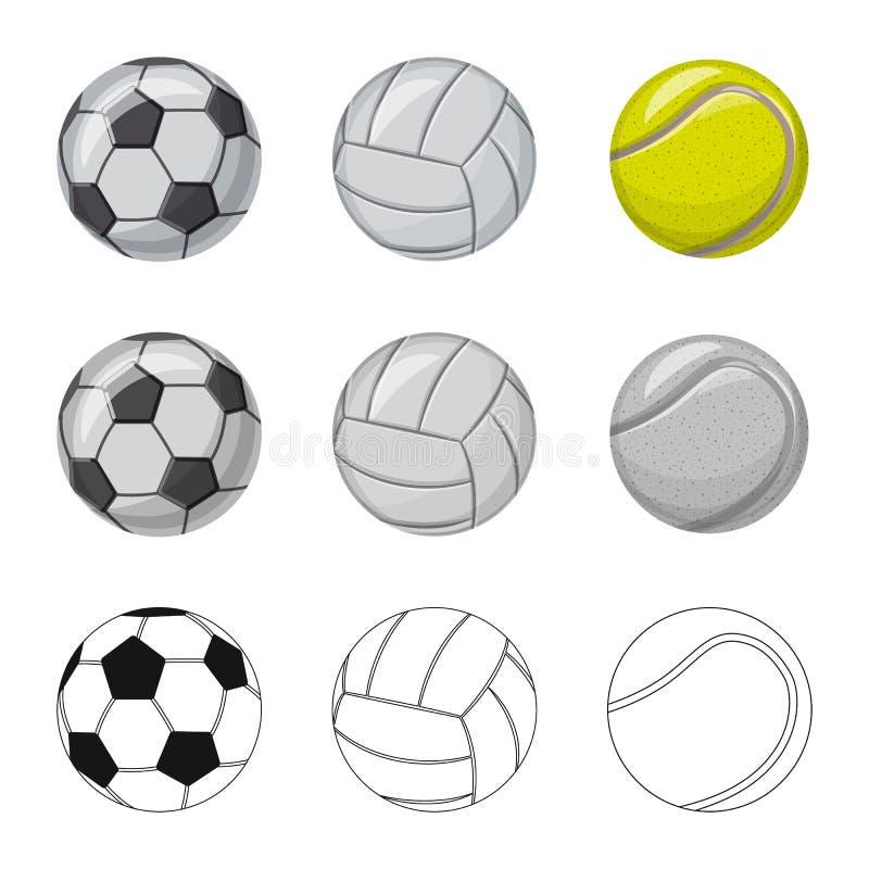 Objeto aislado del deporte y del s?mbolo de la bola Sistema del deporte y del s?mbolo com?n atl?tico para el web ilustración del vector