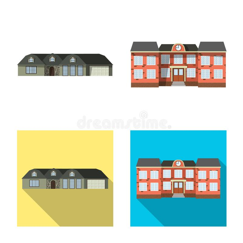Objeto aislado del edificio y del icono delantero Sistema del símbolo común del edificio y del tejado para el web libre illustration