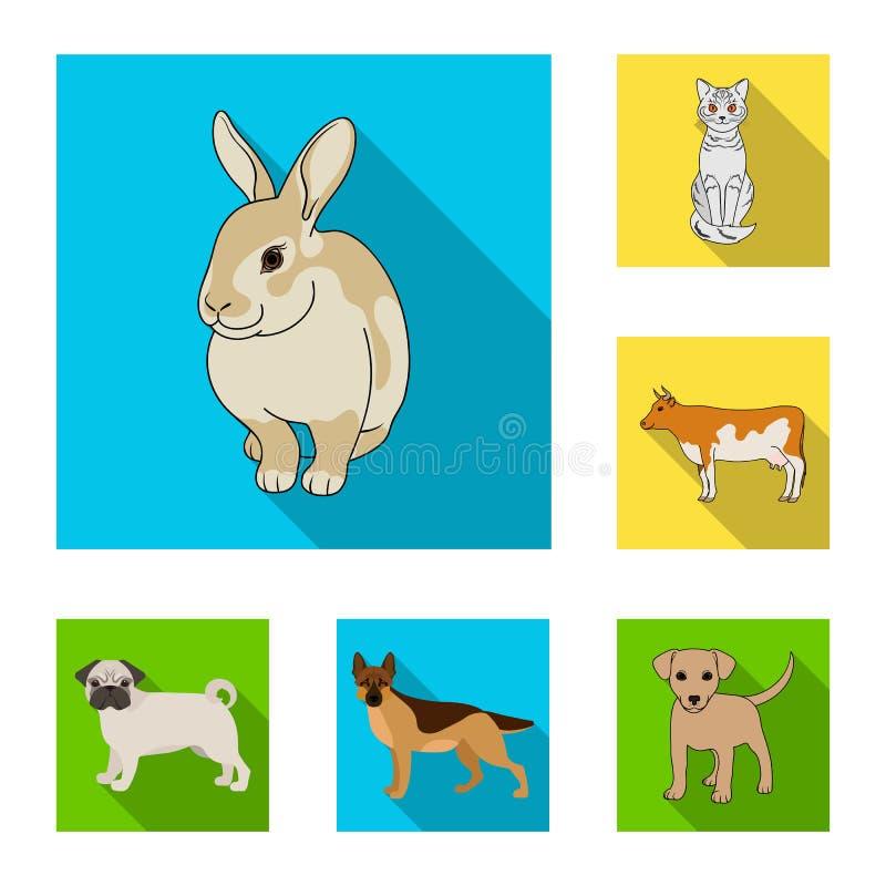 Objeto aislado del icono del animal y del hábitat Colección de icono del vector del animal y de la granja para la acción stock de ilustración