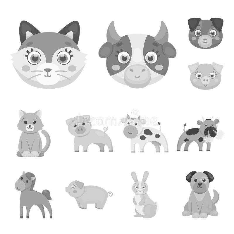 Objeto aislado del icono del animal y del hábitat Fije del símbolo común del animal y de granja para la web stock de ilustración