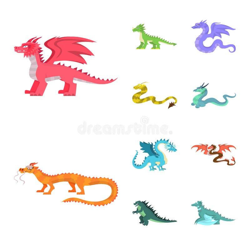 Objeto aislado del icono del criatura y animal Fije de criatura y del icono medieval del vector para la acción libre illustration