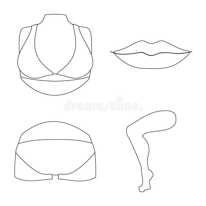 Objeto aislado del icono del cuerpo y de la parte Colecci?n de ejemplo com?n del vector del cuerpo y de la anatom?a stock de ilustración