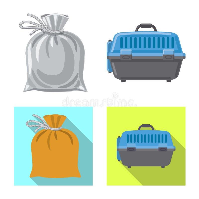 Objeto aislado del icono de la maleta y del equipaje Sistema del símbolo común de la maleta y del viaje para el web libre illustration