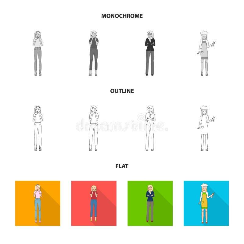 Objeto aislado del icono de la postura y del humor Fije de postura y del icono femenino del vector para la acci?n libre illustration
