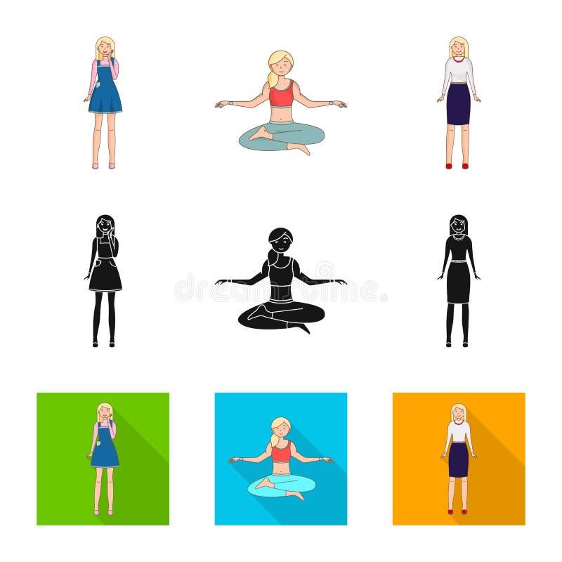 Objeto aislado del icono de la postura y del humor Fije de postura y del s?mbolo com?n femenino para la web ilustración del vector