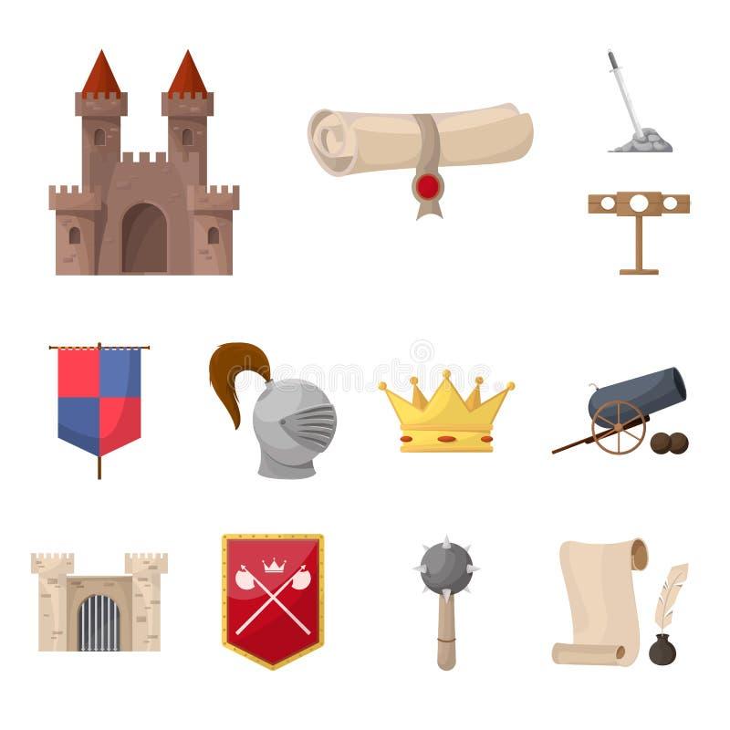 Objeto aislado del icono medieval y de la historia Colección de ejemplo medieval y del torneo de la acción del vector libre illustration
