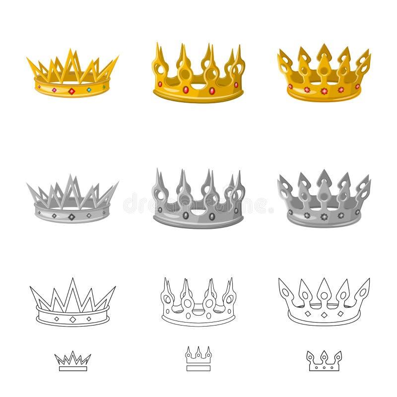 Objeto aislado del icono medieval y de la nobleza Colecci?n de icono medieval y de la monarqu?a del vector para la acci?n ilustración del vector