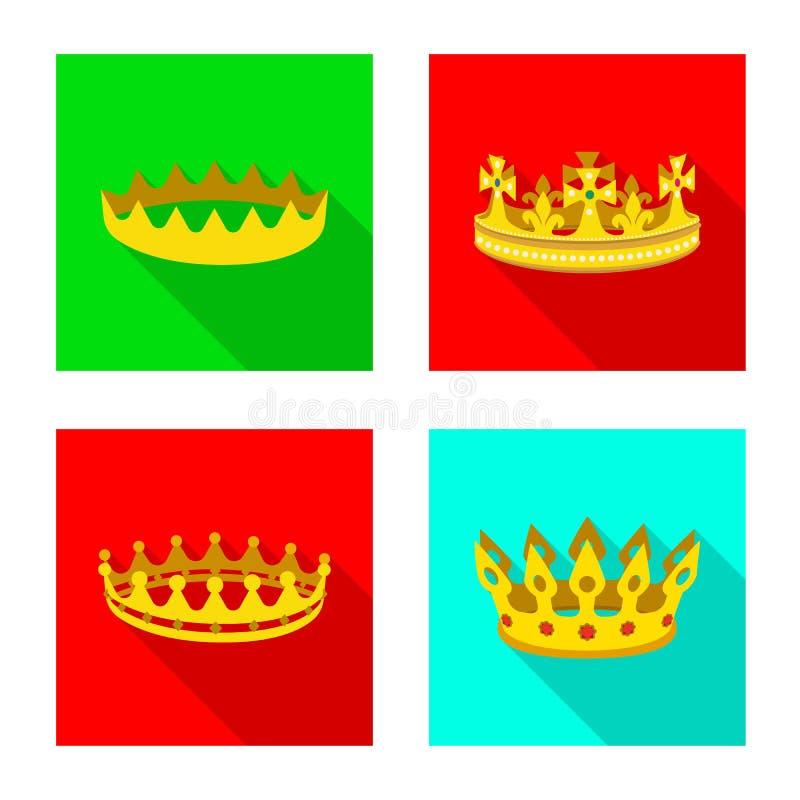 Objeto aislado del icono medieval y de la nobleza Colecci?n de s?mbolo com?n medieval y de la monarqu?a para la web stock de ilustración