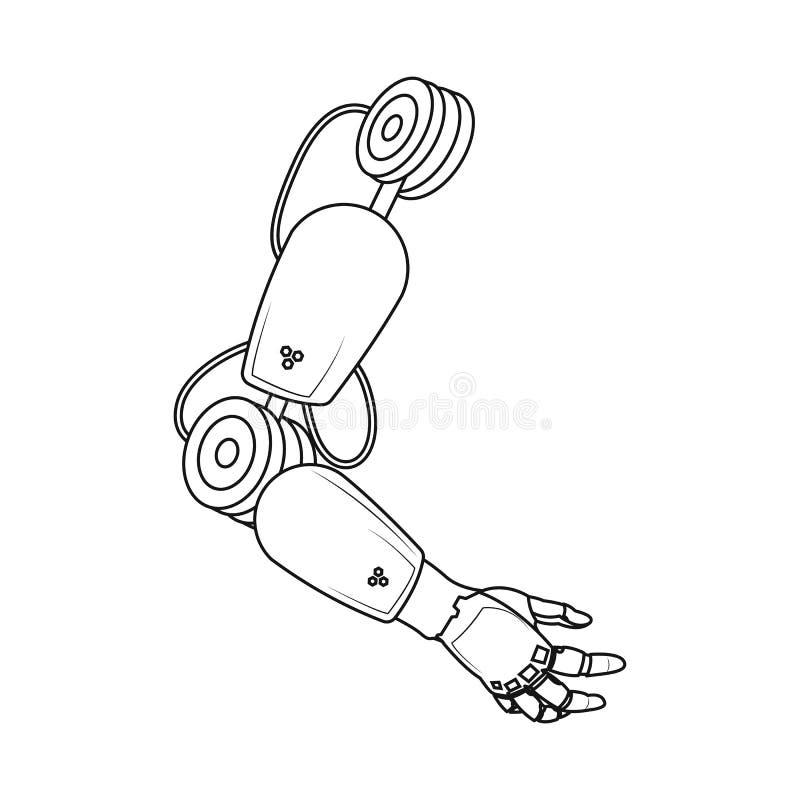 Objeto aislado del icono del robot y de la fábrica Sistema del ejemplo común del vector del robot y del espacio libre illustration