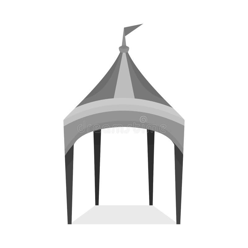 Objeto aislado del icono del toldo y de la tienda Fije del icono del vector del toldo y de la sombrilla para la acción libre illustration