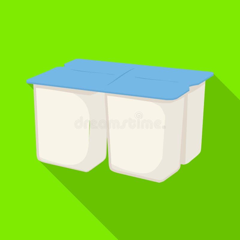 Objeto aislado del icono del yogur y del paquete Colección de ejemplo del vector de la acción del yogur y del bocado ilustración del vector