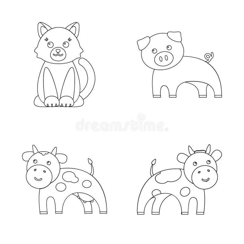 Objeto aislado del logotipo del animal y del hábitat Colección de ejemplo del vector de la acción del animal y de granja ilustración del vector