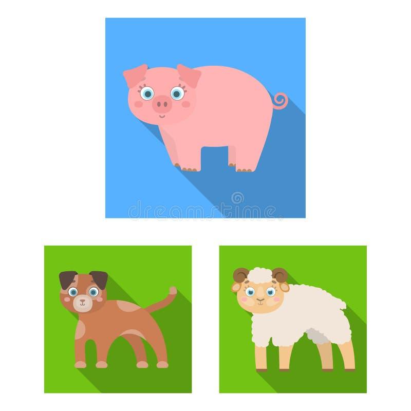 Objeto aislado del logotipo del animal y del hábitat Colección de icono del vector del animal y de la granja para la acción libre illustration