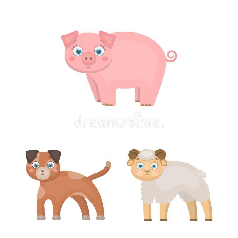 Objeto aislado del logotipo del animal y del hábitat Fije del ejemplo del vector de la acción del animal y de granja stock de ilustración