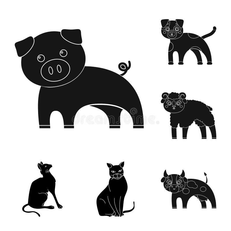 Objeto aislado del logotipo del animal y del hábitat Fije del icono del vector del animal y de la granja para la acción stock de ilustración