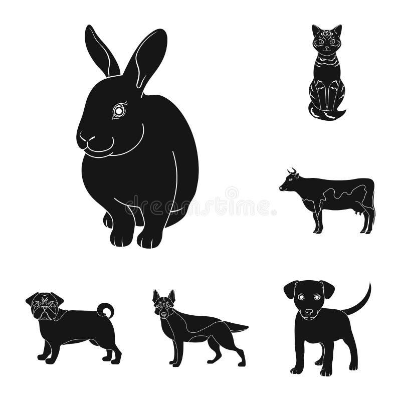 Objeto aislado del logotipo del animal y del hábitat Fije del símbolo común del animal y de granja para la web ilustración del vector