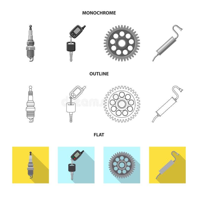 Objeto aislado del logotipo del auto y de la parte Colección de símbolo común del auto y del coche para el web libre illustration