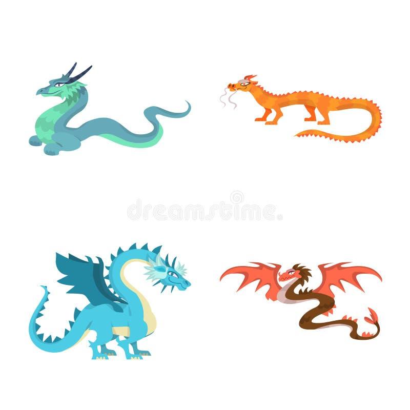 Objeto aislado del logotipo del criatura y animal Colección de criatura e icono medieval del vector para la acción ilustración del vector