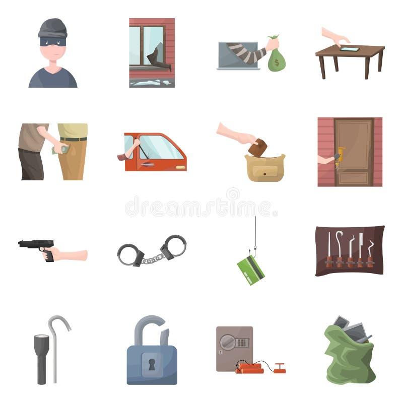 Objeto aislado del logotipo criminal y de la policía Colección de criminal y de ejemplo del vector de la acción del robo libre illustration