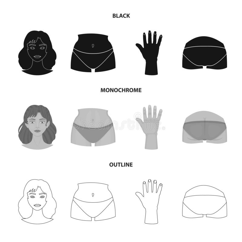 Objeto aislado del logotipo del cuerpo y de la parte Colección de símbolo común del cuerpo y de la anatomía para la web libre illustration