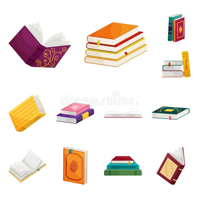 Objeto aislado del logotipo de la biblioteca y de la librería Colección de icono del vector de la biblioteca y de la literatura p ilustración del vector