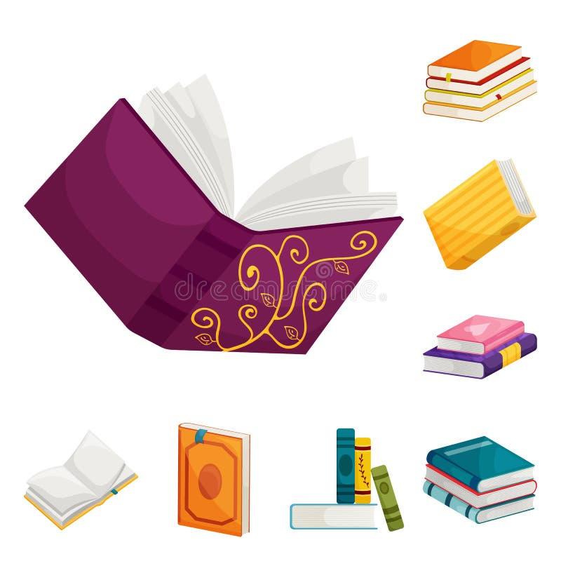 Objeto aislado del logotipo de la biblioteca y de la librer?a Fije del s?mbolo com?n de la biblioteca y de la literatura para la  stock de ilustración