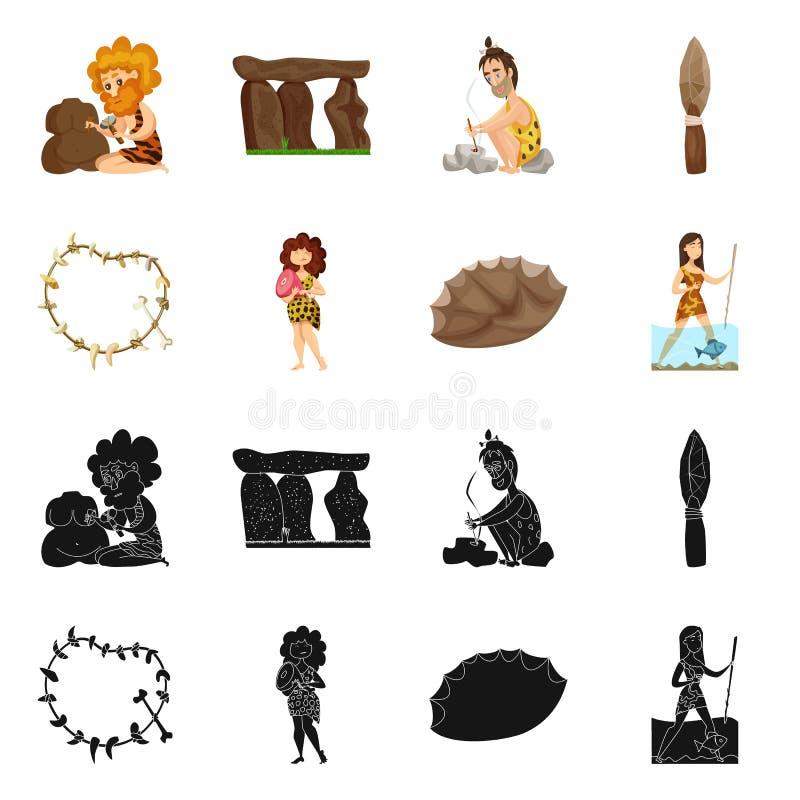 Objeto aislado del logotipo de la evolución y de la prehistoria Colección de icono del vector de la evolución y del desarrollo pa ilustración del vector