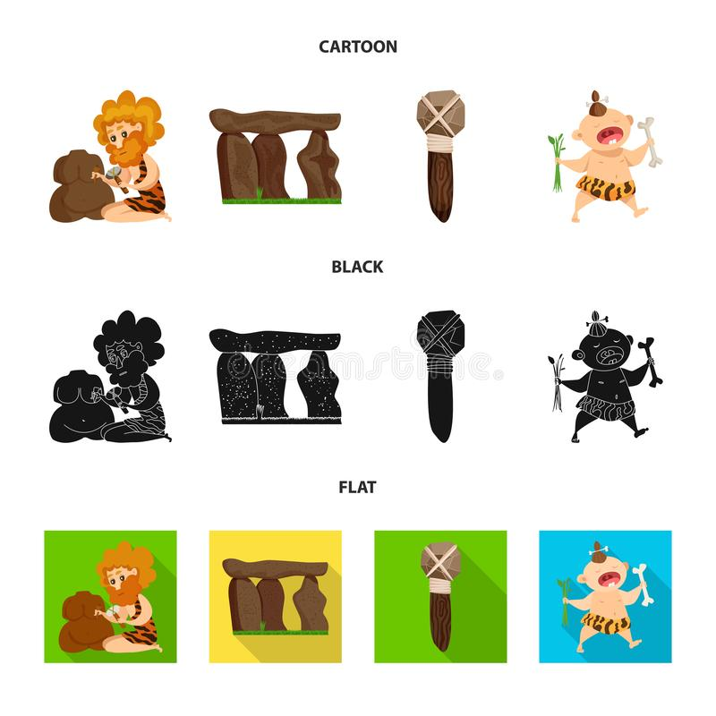 Objeto aislado del logotipo de la evolución y de la prehistoria Colección de símbolo común de la evolución y del desarrollo para  stock de ilustración