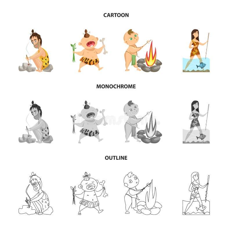 Objeto aislado del logotipo de la evolución y de la prehistoria Fije del icono del vector de la evolución y del desarrollo para l ilustración del vector