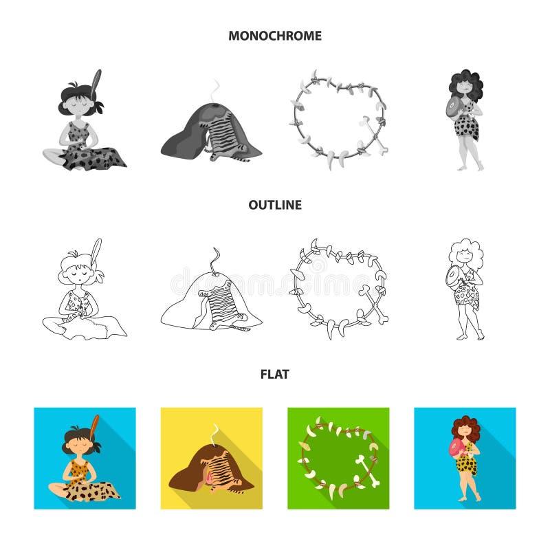 Objeto aislado del logotipo de la evolución y de la prehistoria Fije del símbolo común de la evolución y del desarrollo para la w stock de ilustración