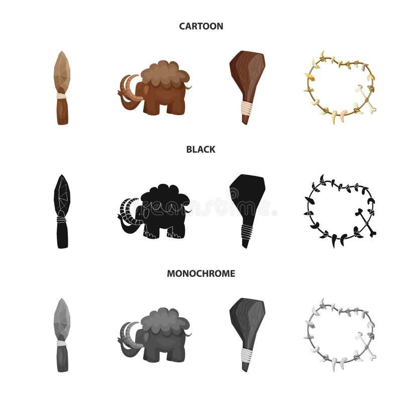 Objeto aislado del logotipo de la evolución y de la prehistoria Fije del símbolo común de la evolución y del desarrollo para la w libre illustration