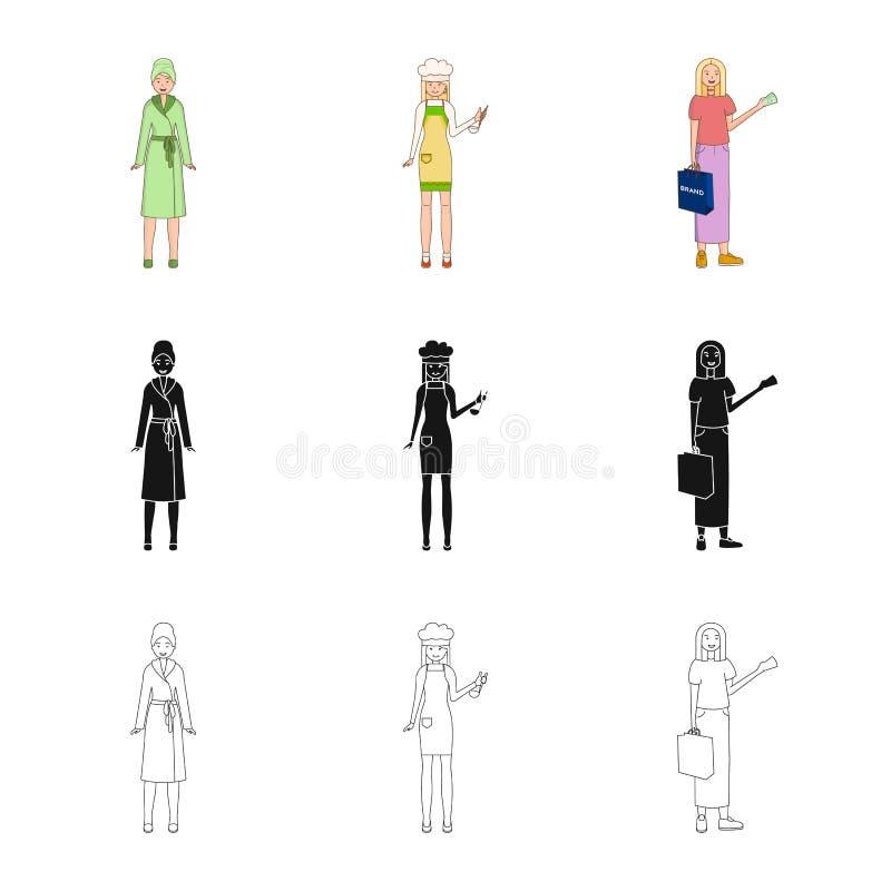 Objeto aislado del logotipo de la postura y del humor Colecci?n de postura y de ejemplo com?n femenino del vector libre illustration